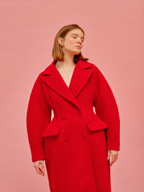 Red coat with tucks