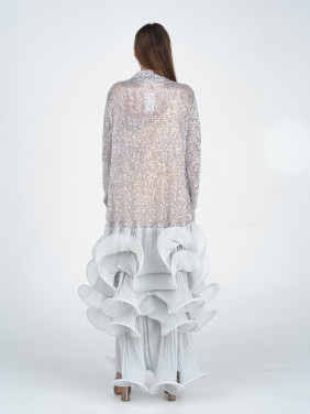 Silver sequin embellished dress with ruffled skirt
