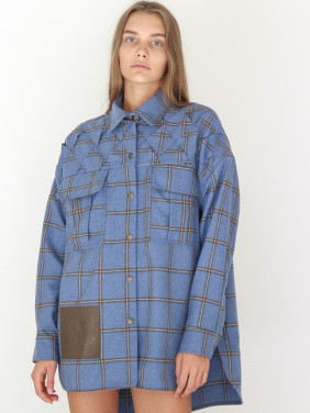 Blue shirt with braided elements