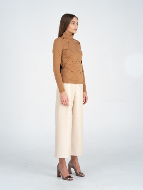 Cappuccino-colored braided turtleneck