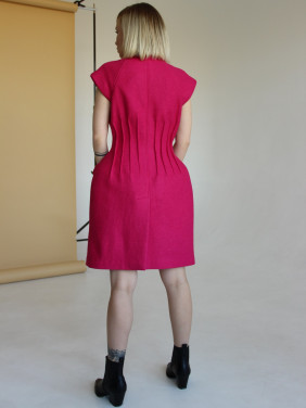 Fuschia jacket-style dress with tucks